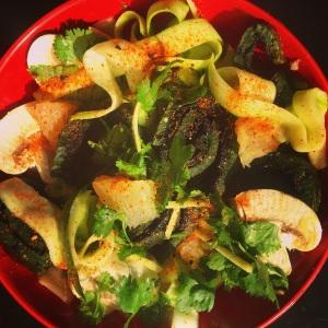 Bowl of Paleo Spirulina Egg Roll Salad