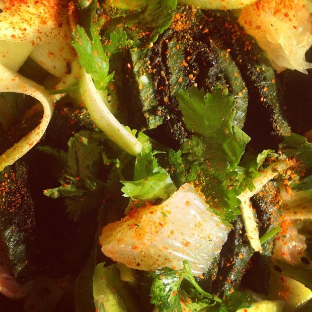 Close up of Paleo Spirulina Egg Roll Salad