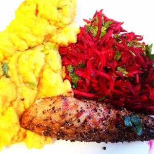 Sweet mash, mackerel and beet salad