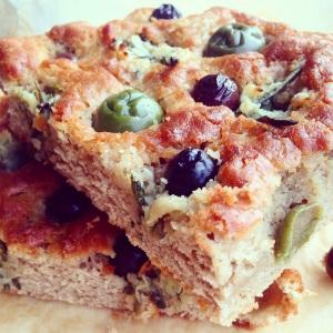 Paleo Garlic, Rosemary & Olive Focaccia Bread