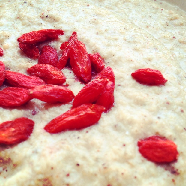 A close up of a bowl of Paleo Semolina topped with goji berries