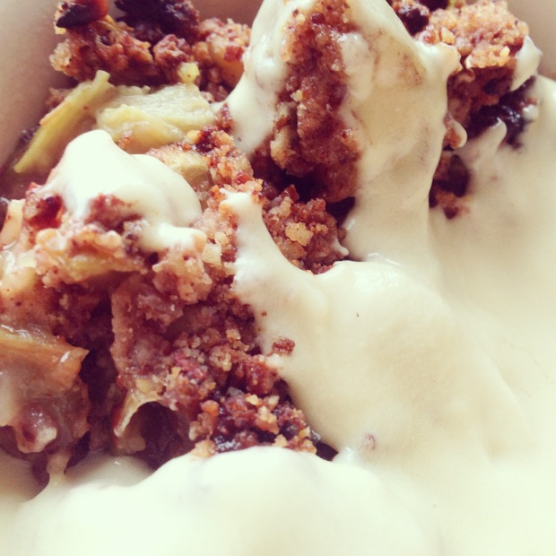 A close up of a paleo crumble with custard