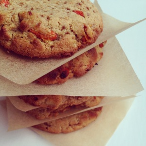 A stack of paleo goji berry and orange cookies