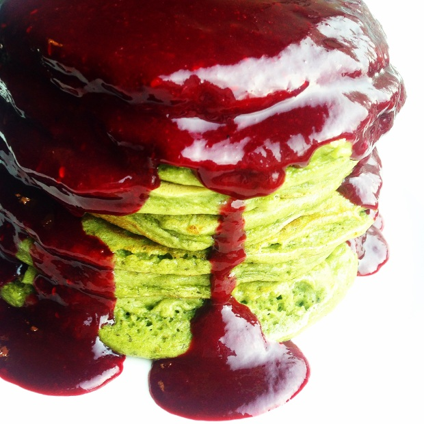 Paleo Zombie Pancakes with Blood Sauce