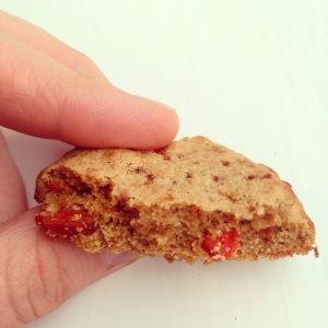 a cross section of paleo goji berry and orange cookie