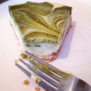 Paleo White Chocolate & Moringa Caramel Cheesecake